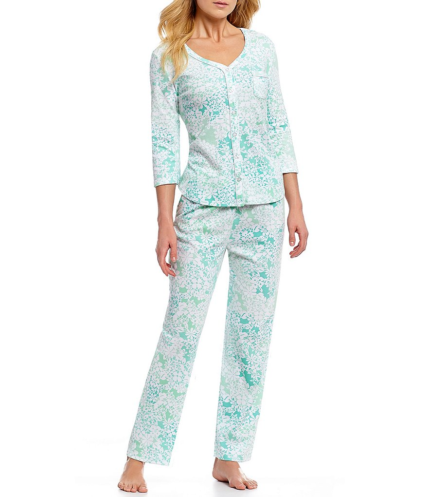 Karen Neuburger Foulard-Printed Interlock Knit Pajamas