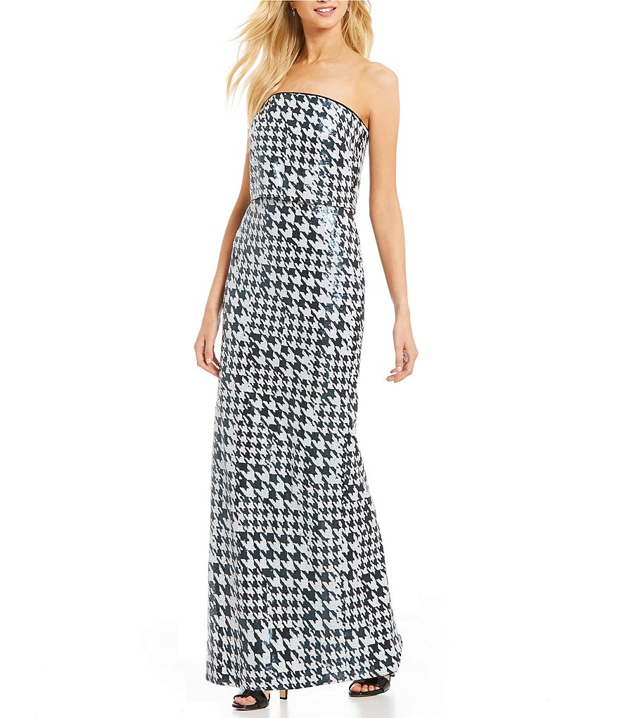 Karl Lagerfeld Houndstooth Sequin Popover Gown