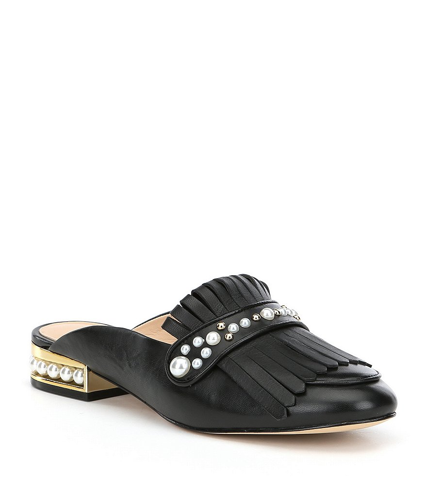 KARL LAGERFELD PARIS Becky Kiltie Pearl Stud Detail Dress Mules