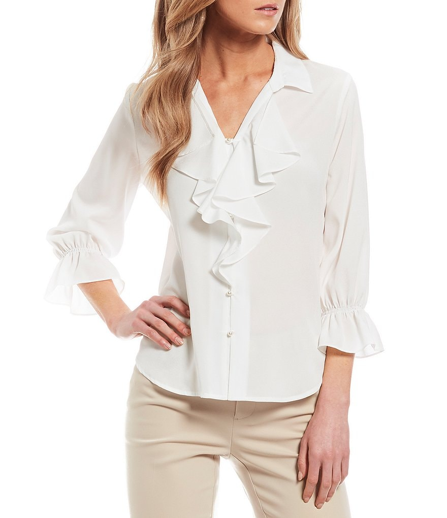 KARL LAGERFELD PARIS Bell Sleeve Ruffle Front Blouse