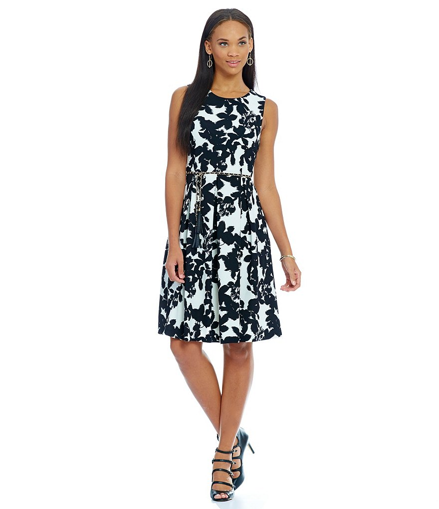KARL LAGERFELD PARIS Belted Fit and Flare Printed Dress
