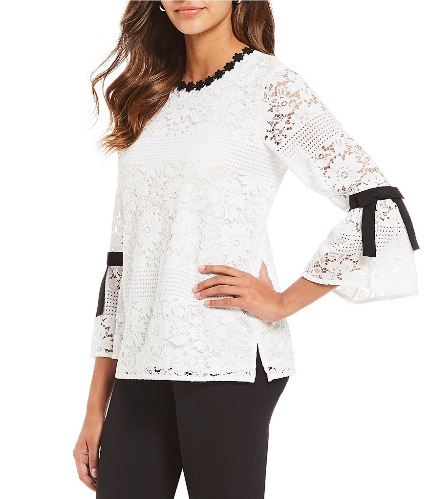 KARL LAGERFELD PARIS Bow Detail Sleeve Lace Top