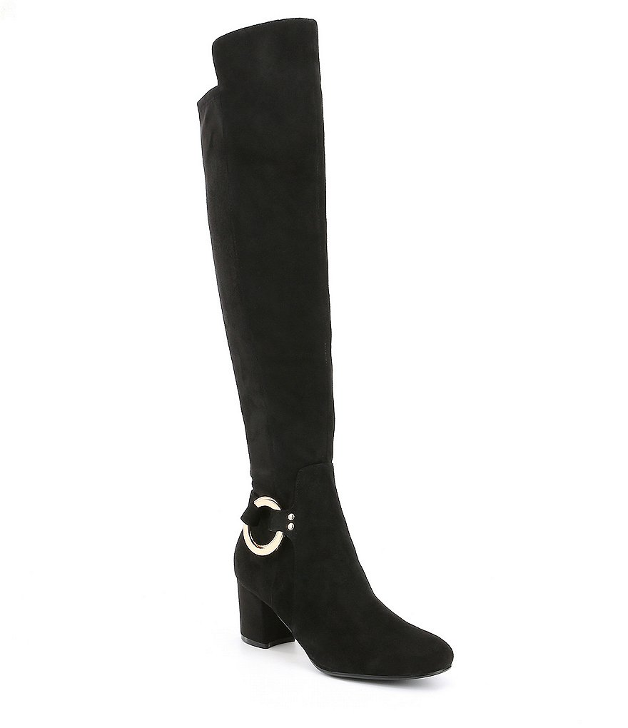 KARL LAGERFELD PARIS Cami Suede Block Heel Tall Riding Boots
