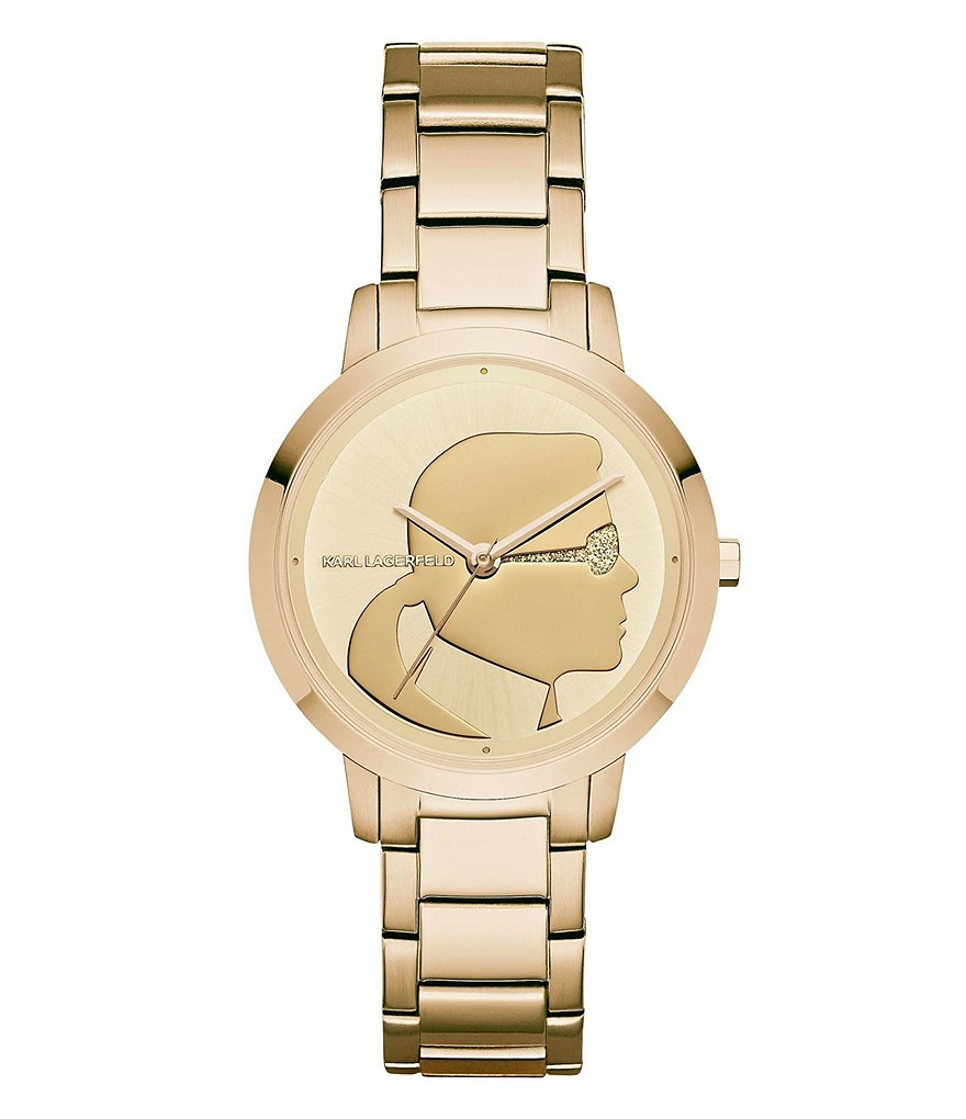KARL LAGERFELD PARIS Camille Gold-Tone Three-Hand Watch