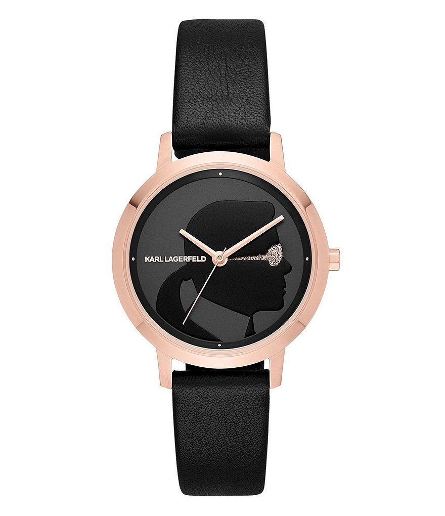 KARL LAGERFELD PARIS Camille Rose Gold-Tone and Black Leather Three-Hand Watch