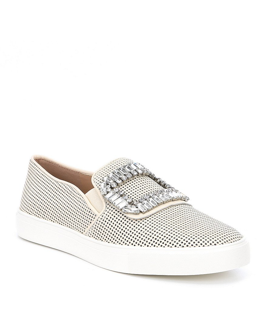 KARL LAGERFELD PARIS Ermine8 Leather and Glitter Jeweled Embellishment Buckle Perforated Sneakers