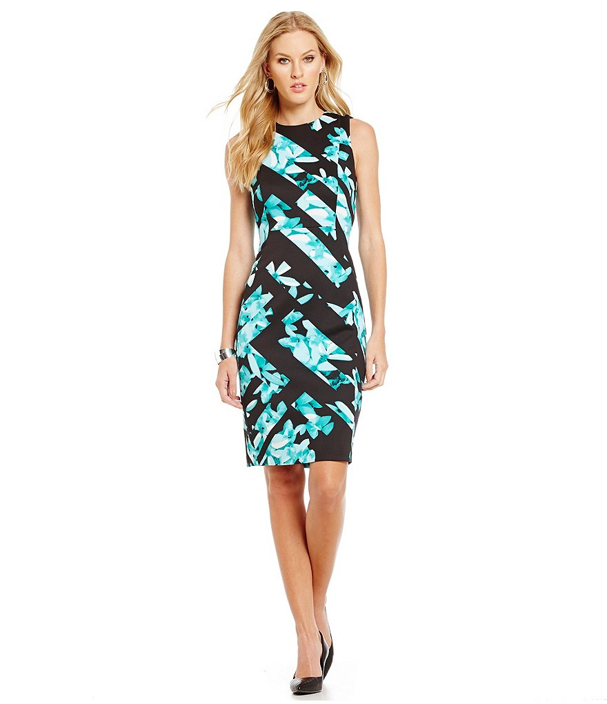 KARL LAGERFELD PARIS Floral Print Scuba Sheath Dress