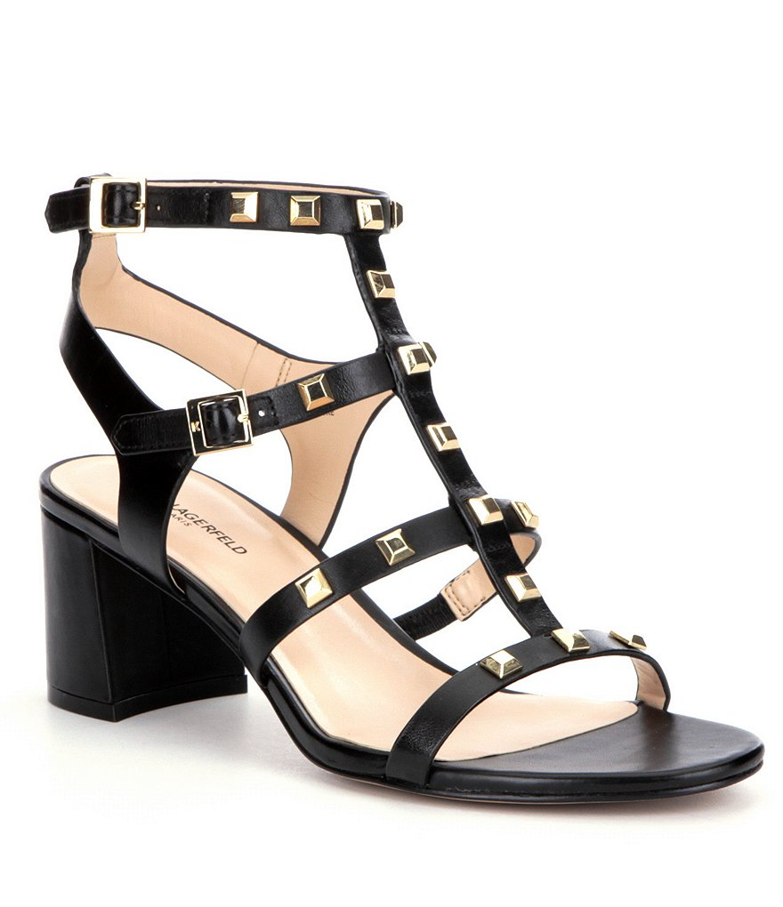 KARL LAGERFELD PARIS Honore Studded Chunky Heel Sandals