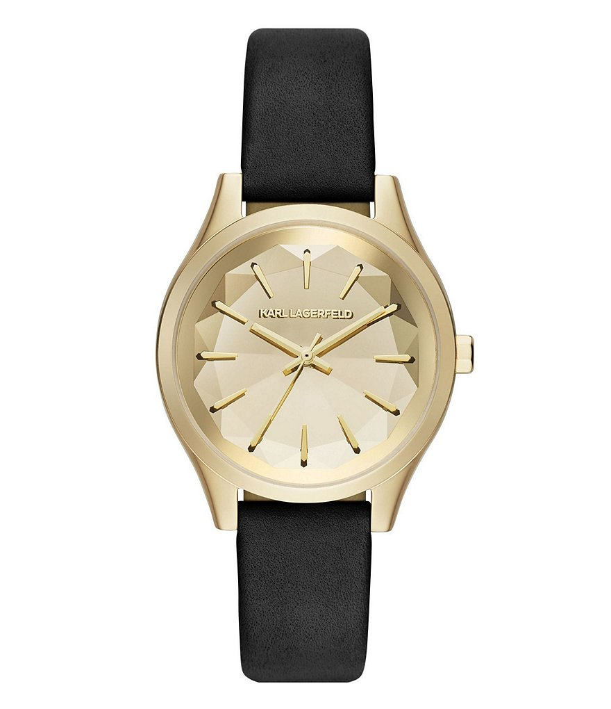 KARL LAGERFELD PARIS Janelle Black Leather and Gold-Tone 3 Hand Watch