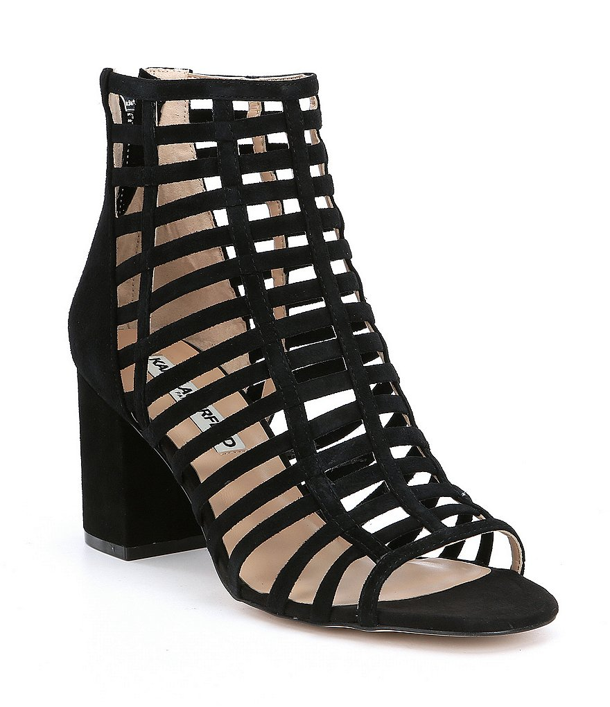 KARL LAGERFELD PARIS Jasmint Suede Gladiator Block Heel Dress Sandals