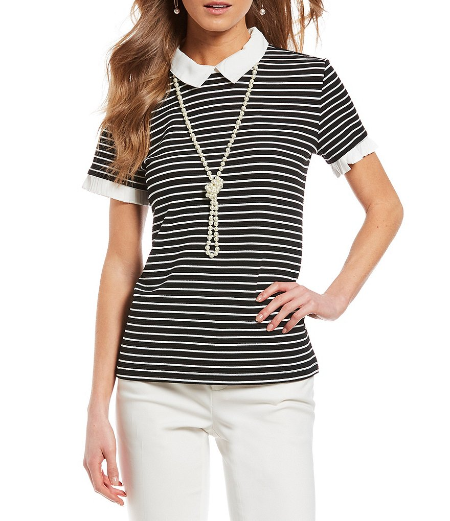 KARL LAGERFELD PARIS Knit Stripe Short Sleeve Top