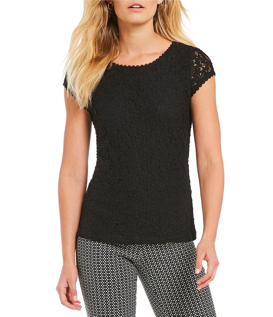 KARL LAGERFELD PARIS Lace Knit Top