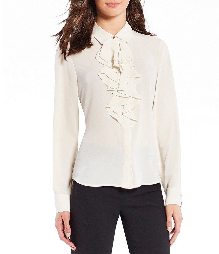 KARL LAGERFELD PARIS Long Sleeve Ruffle Front Blouse