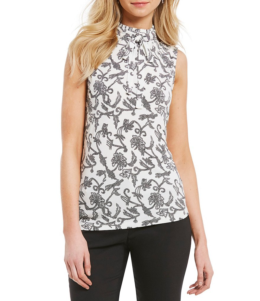 KARL LAGERFELD PARIS Mock Neck Bow Detail Floral Print Cami