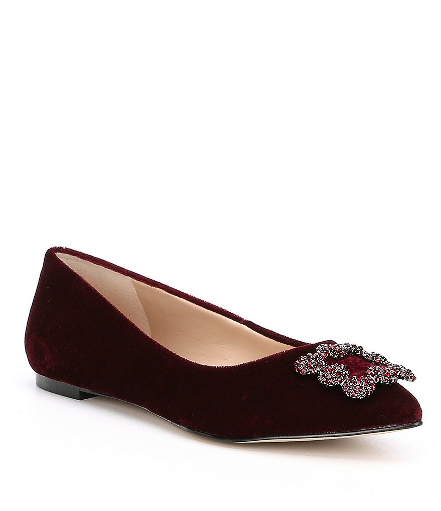 KARL LAGERFELD PARIS Nara2 Velvet Ornament Detail Dress Flats