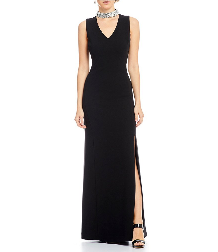 KARL LAGERFELD PARIS Pearl Collar Key Hole Gown