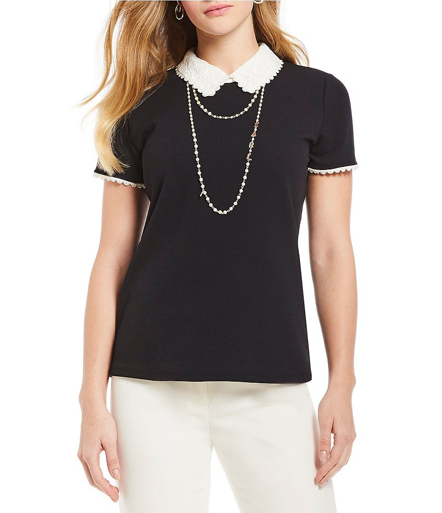 KARL LAGERFELD PARIS Pearl Necklace Lace-Trimmed Twofer Top