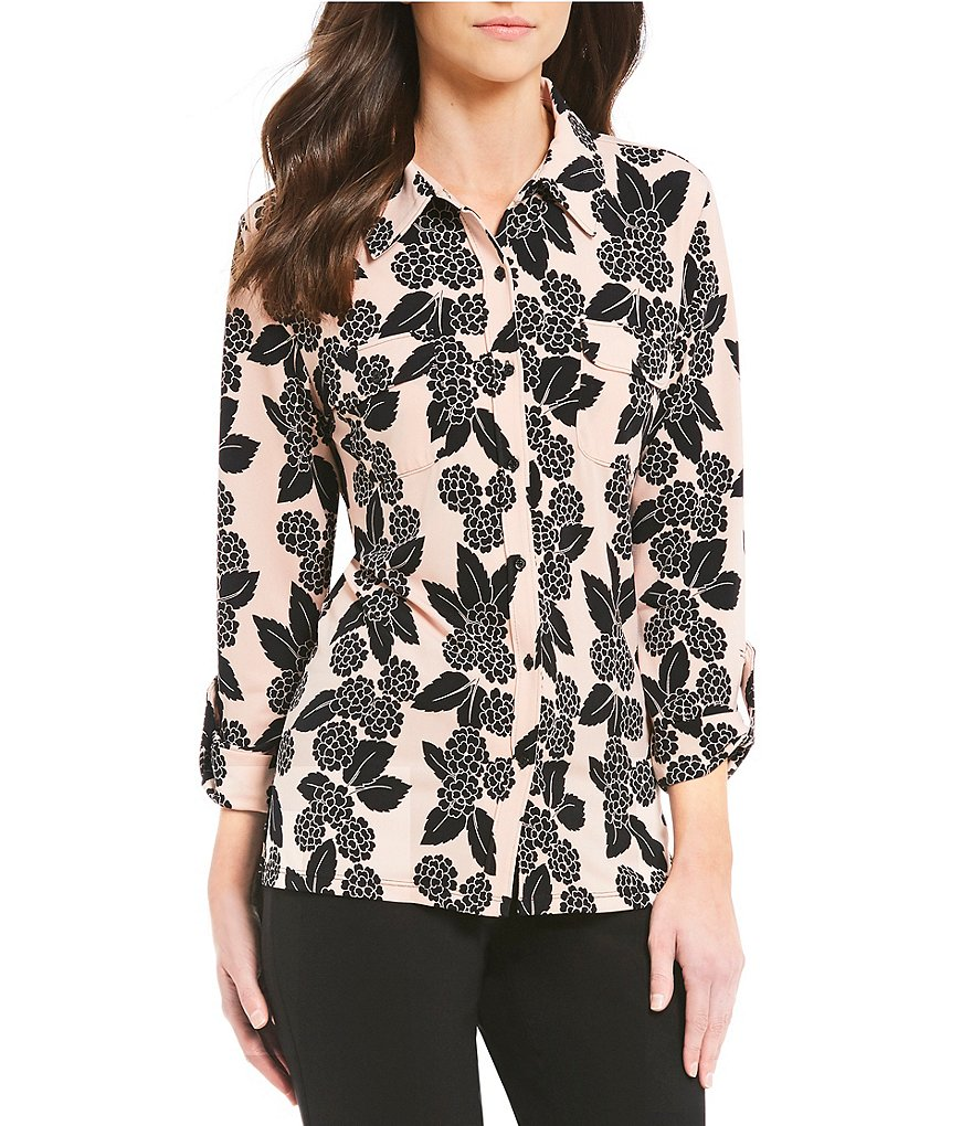 KARL LAGERFELD PARIS Printed Roll Tab Shirt