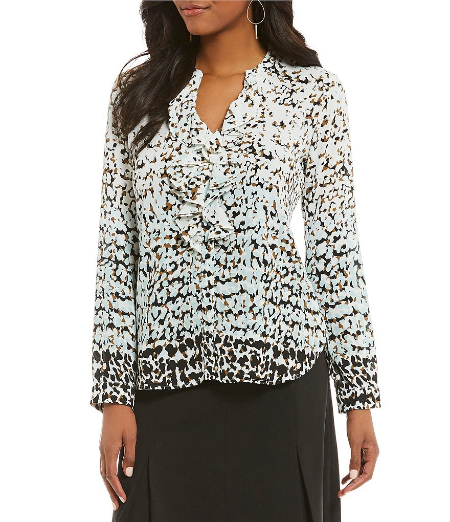 KARL LAGERFELD PARIS Printed Ruffle Front Blouse