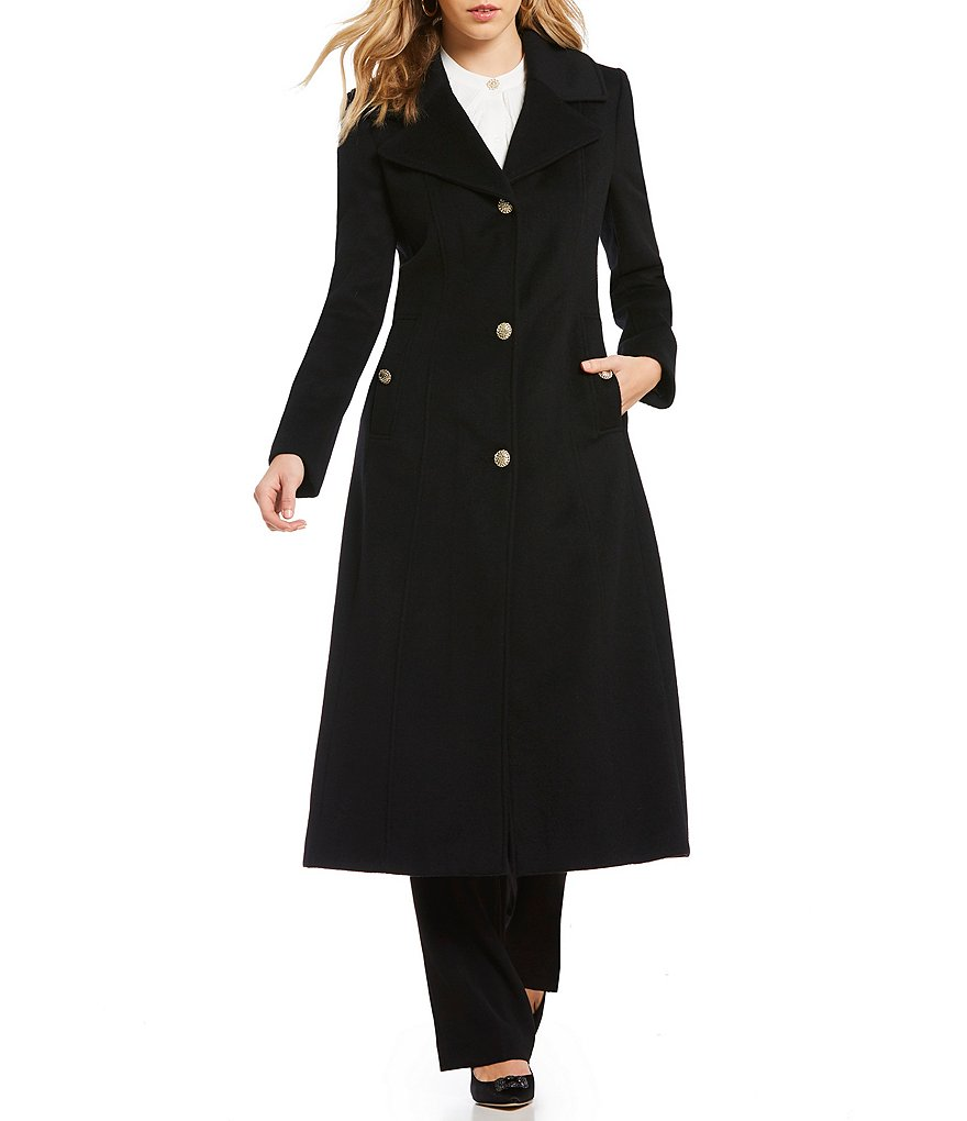 KARL LAGERFELD PARIS Single Breasted Button Front Maxi Length Wool ...