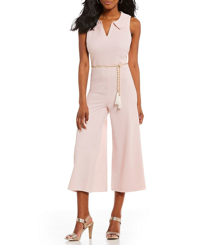 KARL LAGERFELD PARIS Sleeveless Crepe Culotte Jumpsuit with Collard V-Neck