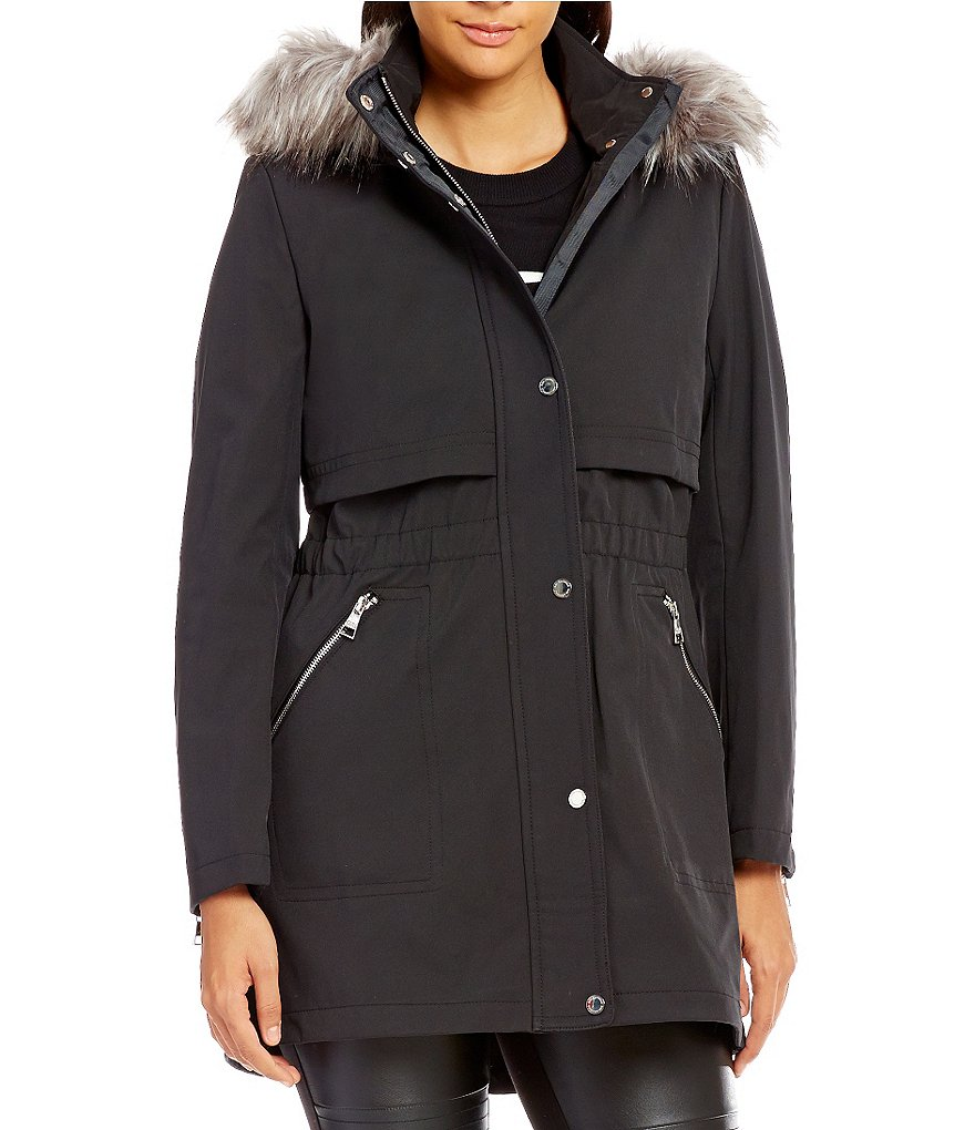 KARL LAGERFELD PARIS Soft Shell Faux Fur Hooded Parka