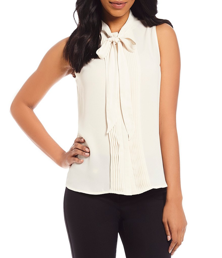KARL LAGERFELD PARIS Tie-Neck Sleeveless Button Front Top