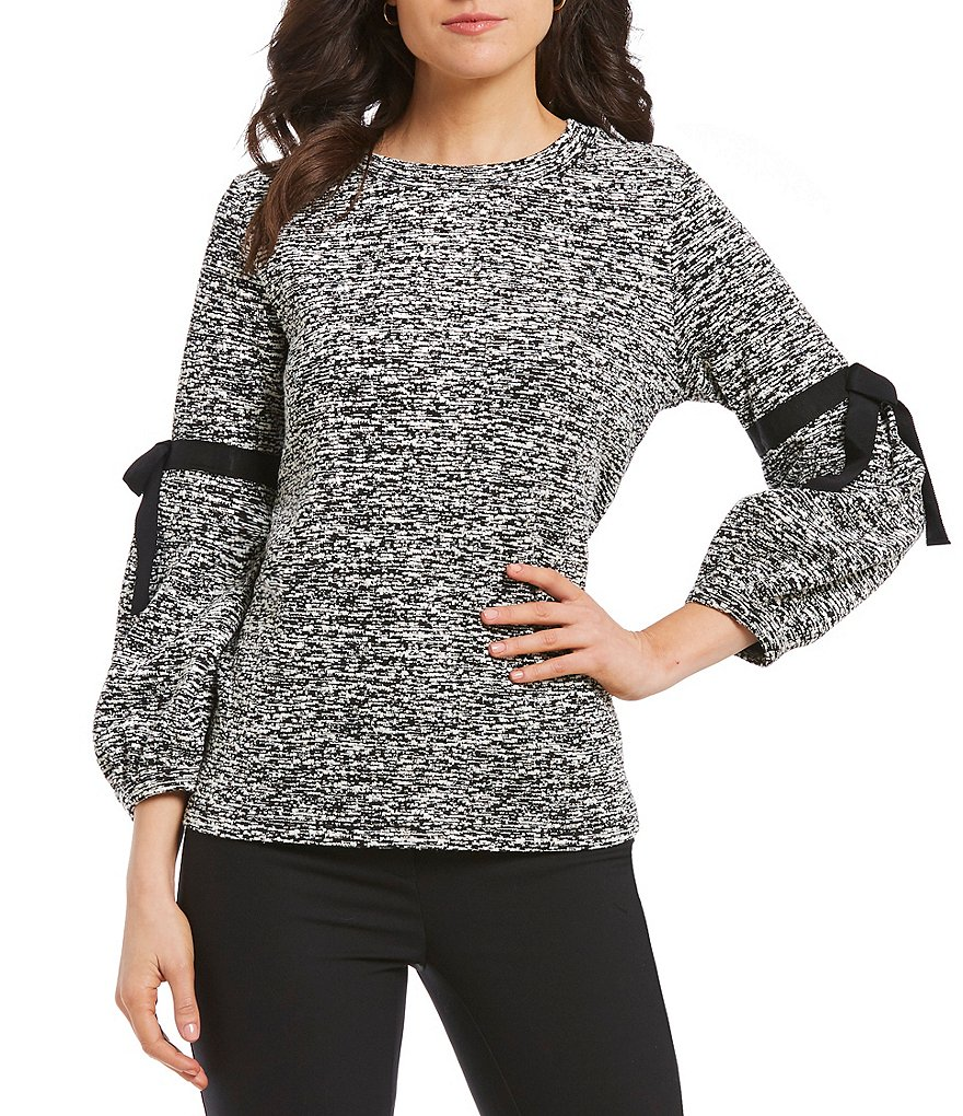 KARL LAGERFELD PARIS Tie Detail Puff Sleeve Knit Top