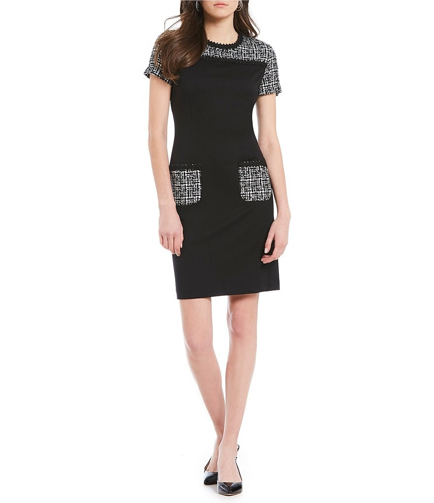 KARL LAGERFELD PARIS Contrast Tweed Dress