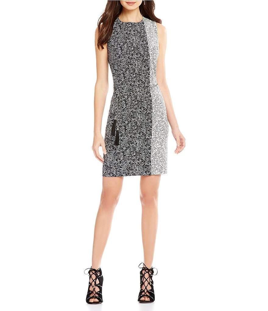 KARL LAGERFELD PARIS Two-Toned Chain-Belted Print Sleeveless Shift Dress