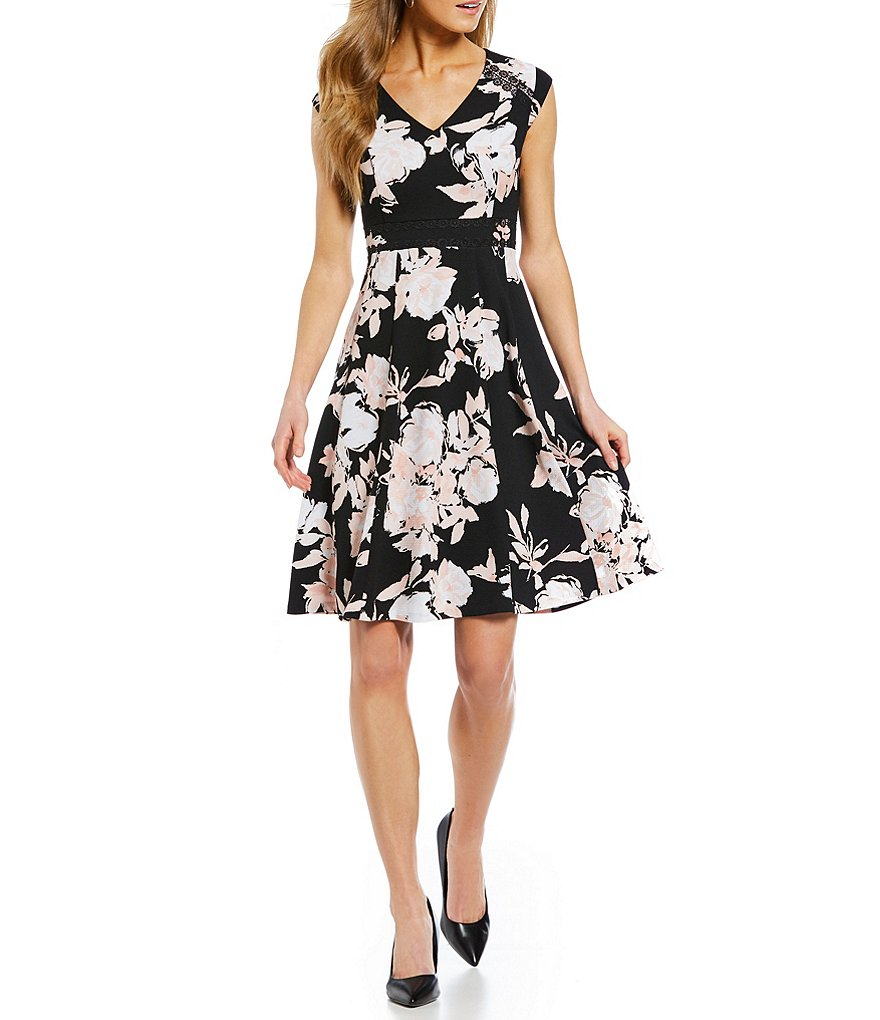 KARL LAGERFELD PARIS V-Neck Floral A-Line Dress
