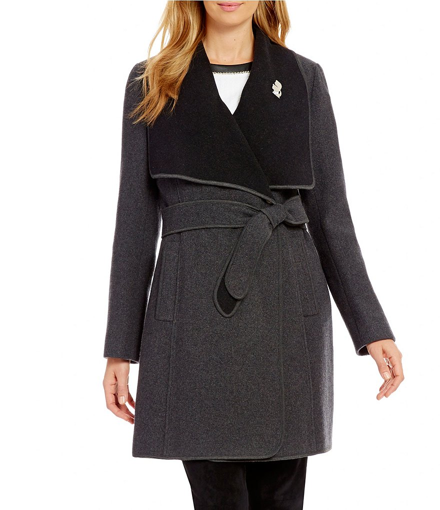 KARL LAGERFELD PARIS Wool Double-Face Wrap Coat