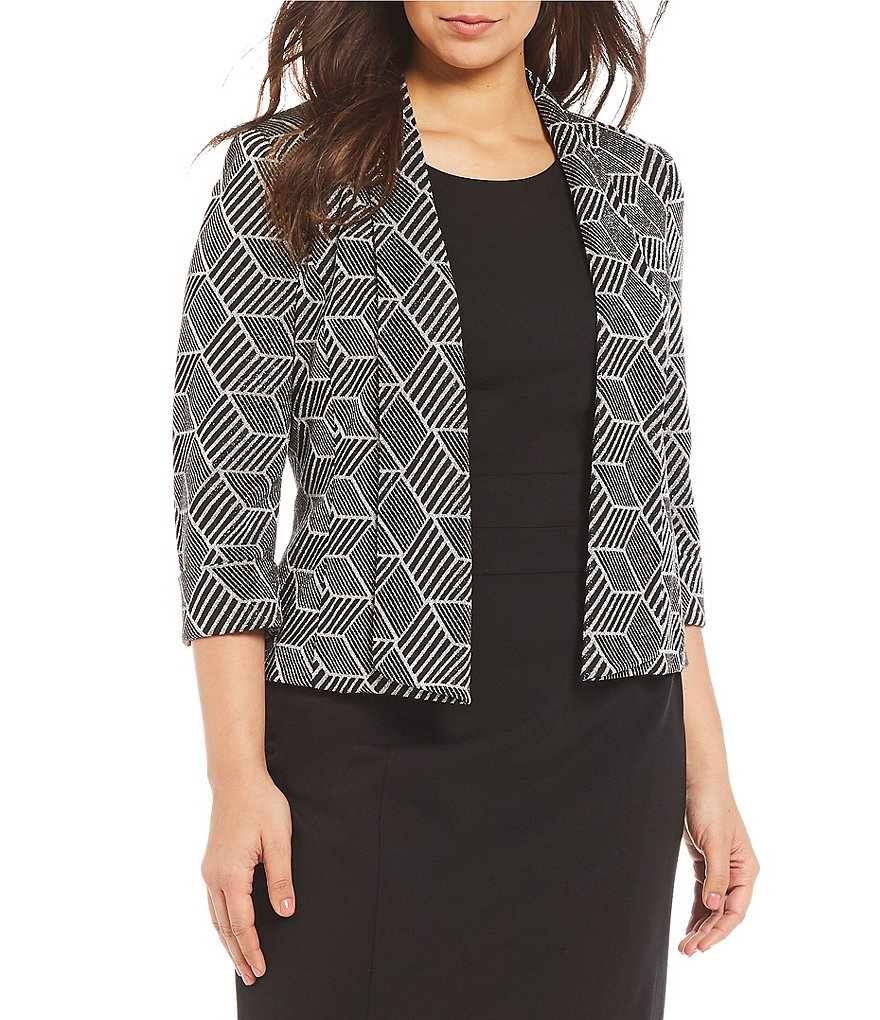 Kasper Metallic Geometric Knit Jacquard Open-Front Jacket