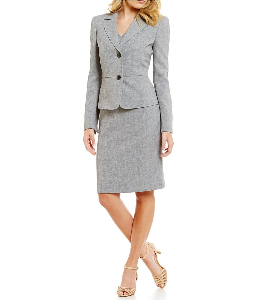 Kasper Notch Collar 2 Button Jacket & V-Neck Sleeveless Dress