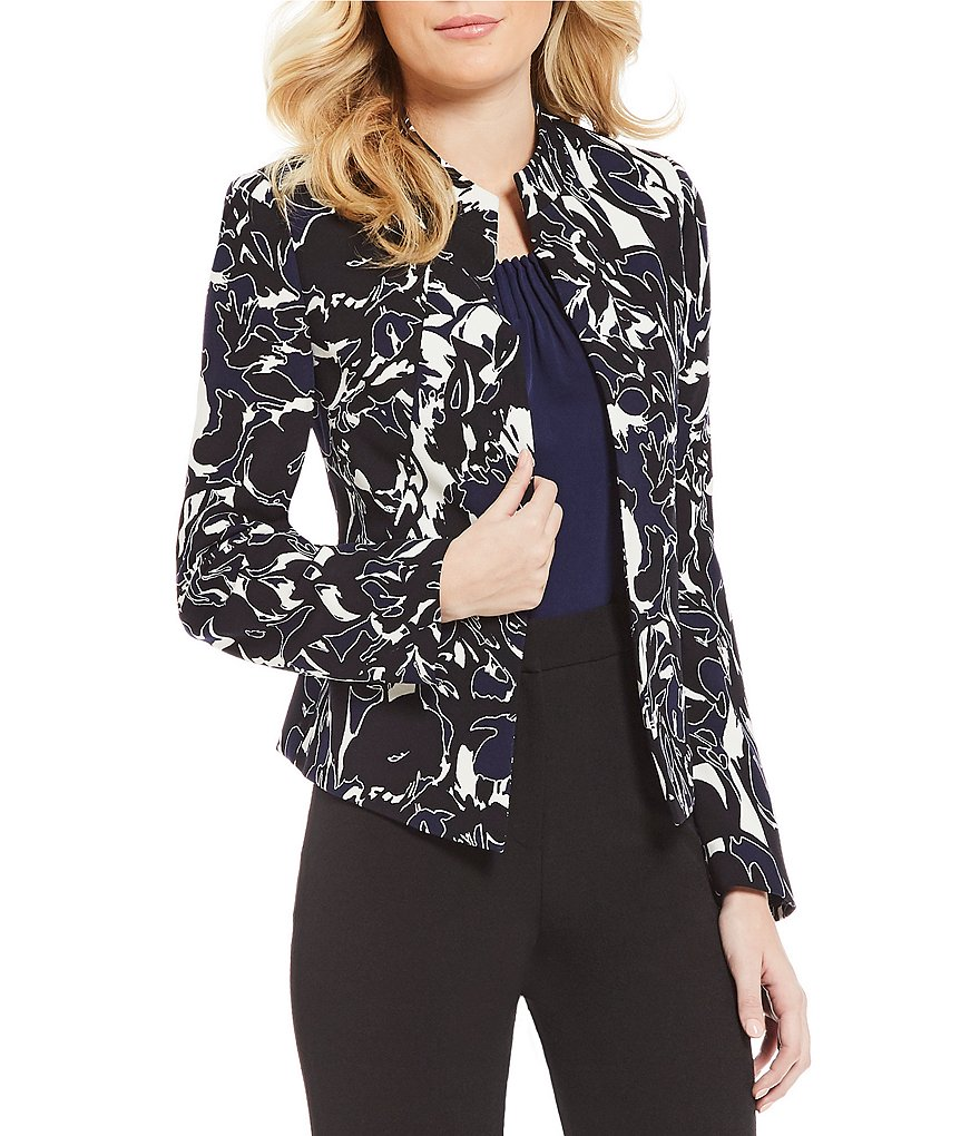 Kasper Petite Abstract Camo Flyaway Jacket