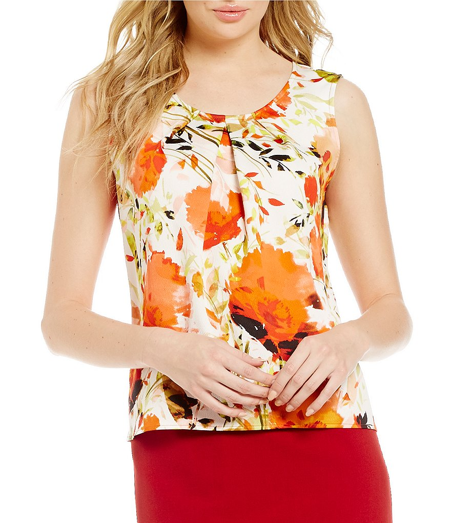 Kasper Petite Floral Pleat-Neck Cami