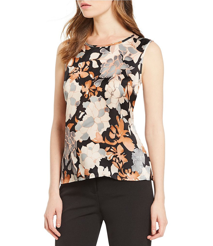 Kasper Petite Jewel Neck Floral Shell Top
