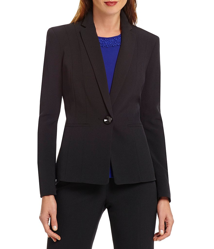 Kasper Womens Petite Single-Button Notched-Lapel Blazer