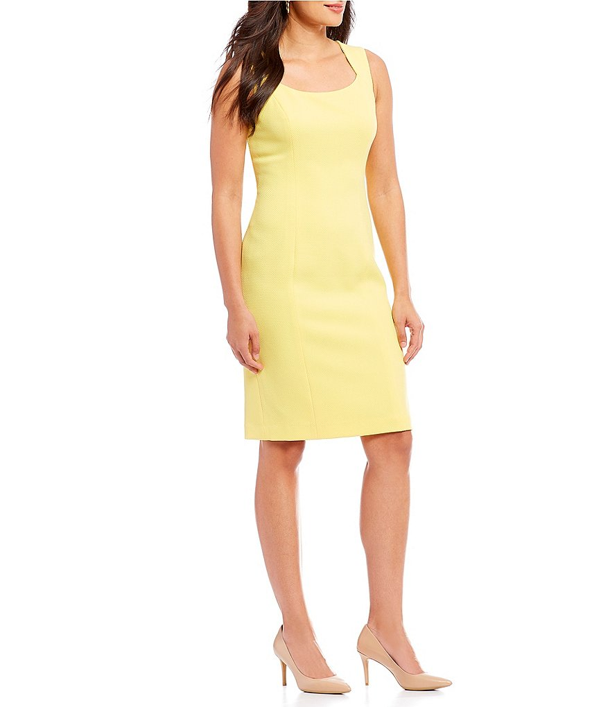Kasper Petite Solid Knit Sheath Dress