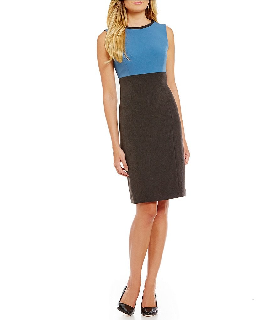 Kasper Petite Stretch Crepe Color Block Sheath Dress