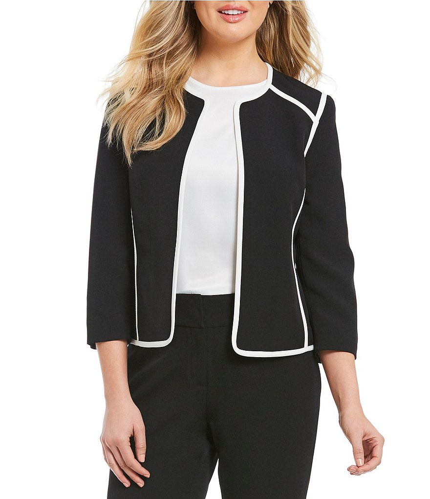 Kasper Petite Stretch Crepe Contrast Trim Jacket