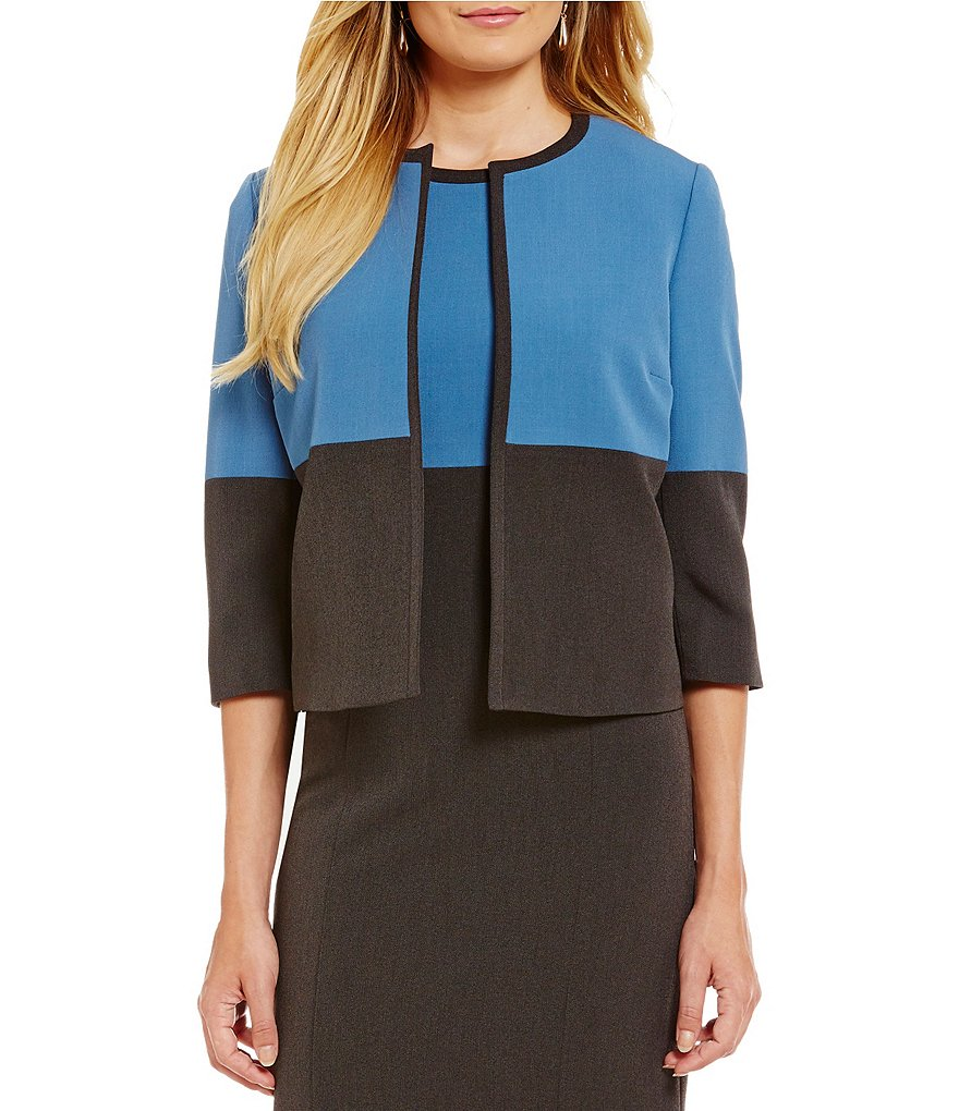 Kasper Petite Stretch Crepe Flyaway Color Block Jacket