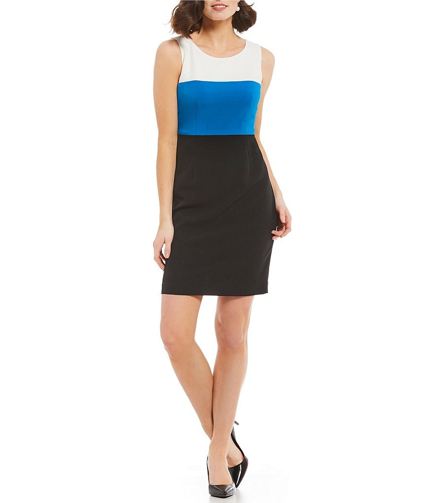Kasper Petite Tri Tone Colorblock Dress