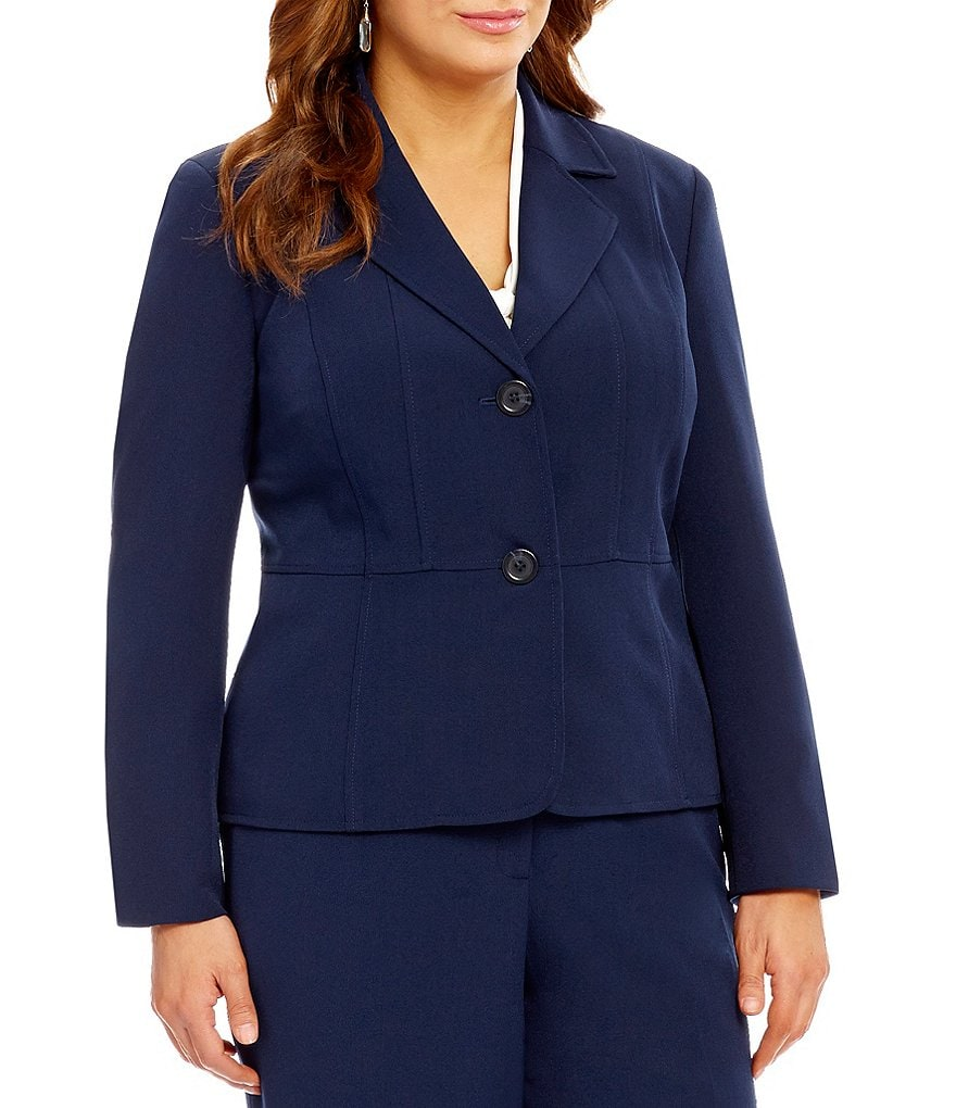 Kasper Plus 2-Button Stretch Crepe Blazer