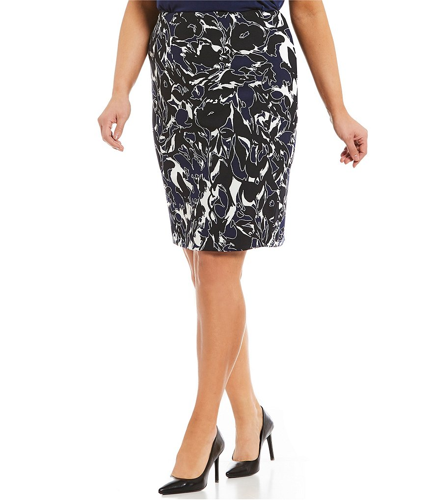 Kasper Plus Abstract Camouflage Pencil Skirt