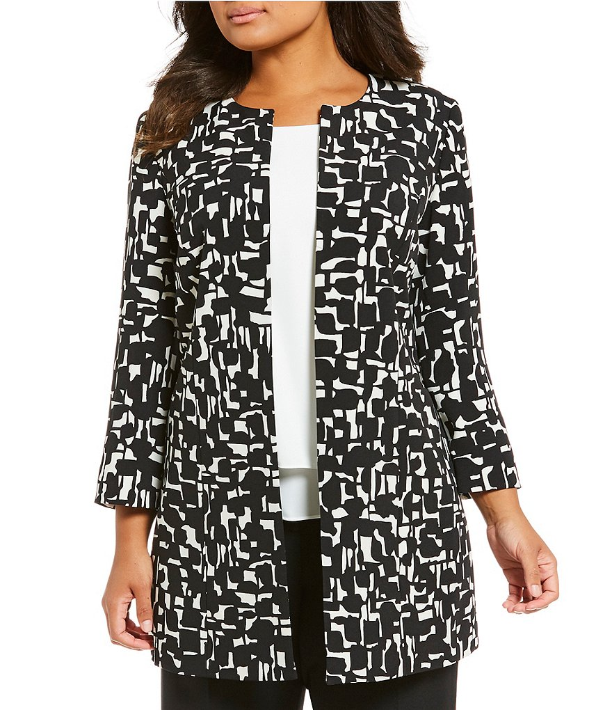 Kasper Plus Abstract Print Topper Jacket