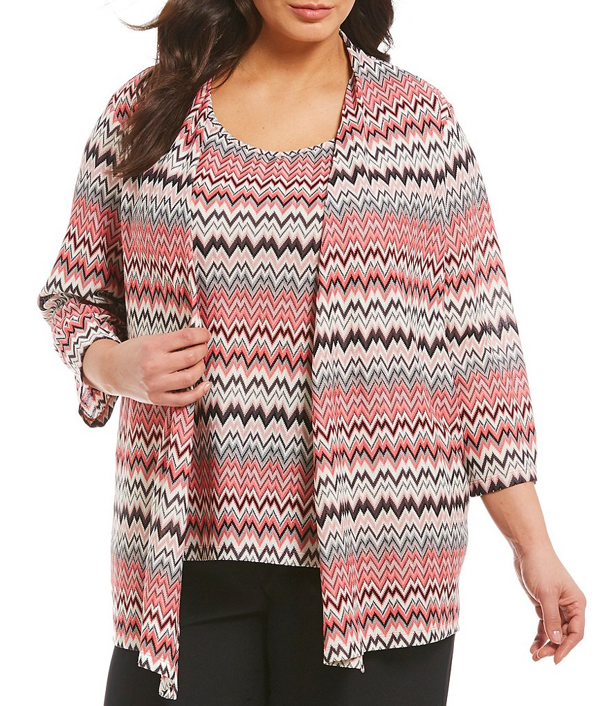 Kasper Plus Chevron Stripe Print Knit Jersey Cardigan