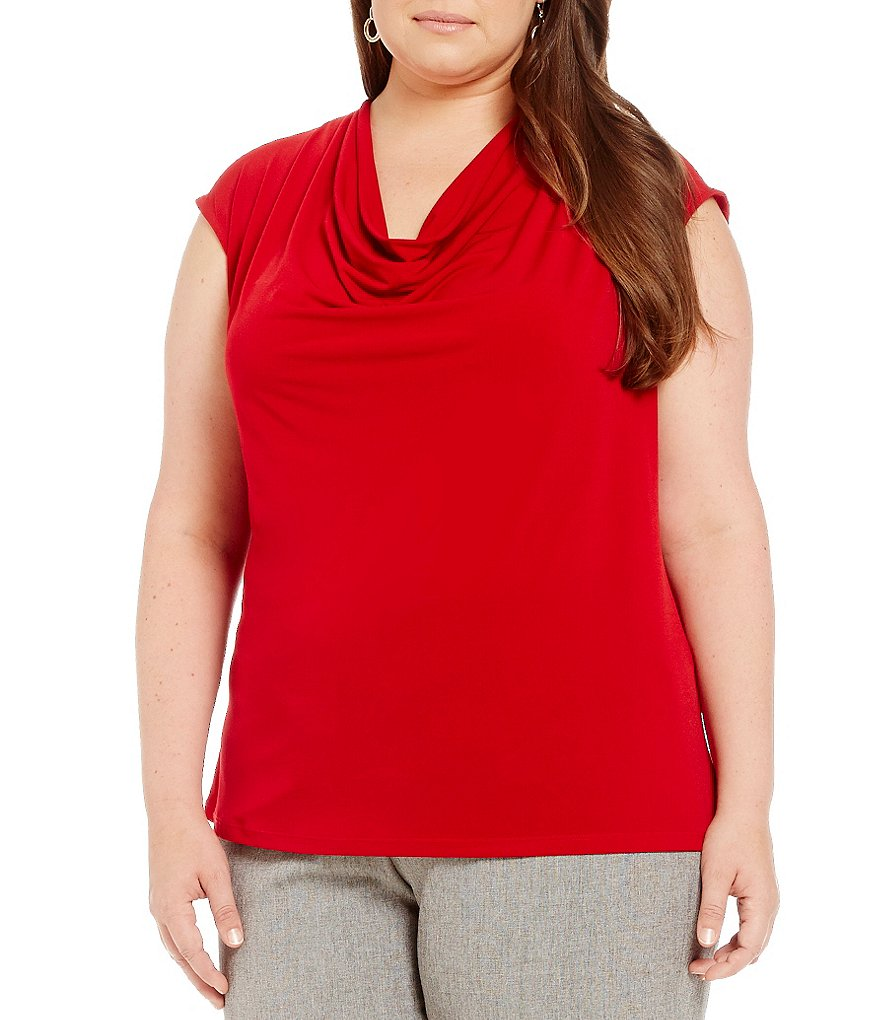 Kasper Plus Cowl-Neck Shell Top