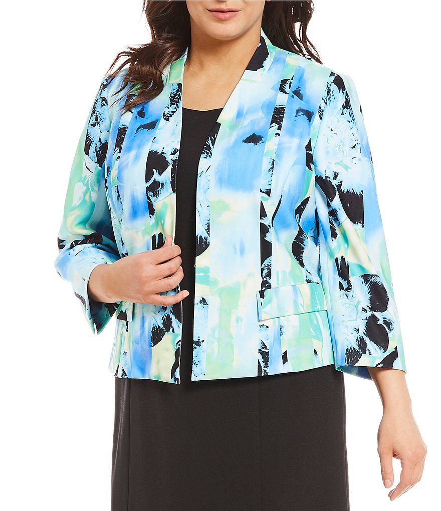 Kasper Plus Sea Waves Printed Flyaway Jacket