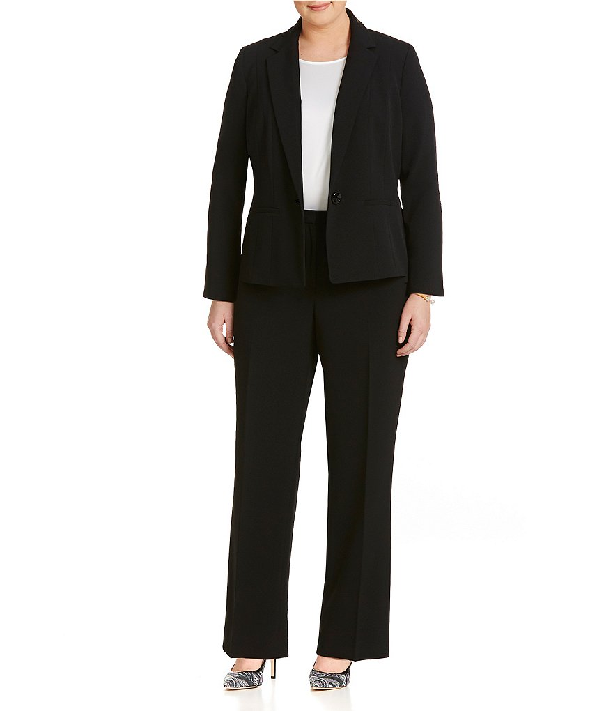 Kasper Plus Stretch Crepe Seamed Blazer & Stretch Crepe Pants